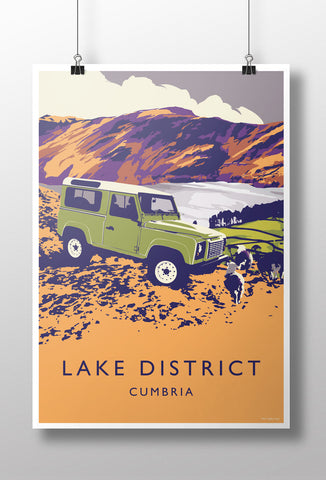 Defender 90 'Lake District' print
