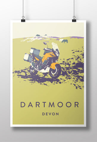 Adventure Motorcycle 'Dartmoor' print