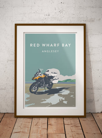 Adventure Expedition Motorcycle 'Red Wharf Bay' print