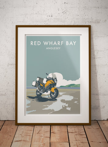 Adventure Motorcycle 'Red Wharf Bay' print