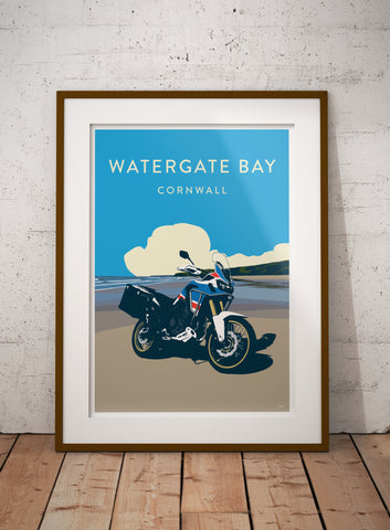 Paris Dakar Expedition Motorcycle 'Watergate Bay' print