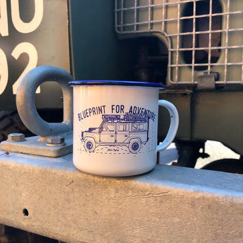 Blueprint for Adventure enamel mug
