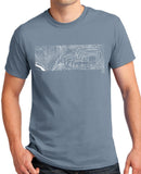 'Contours' t-shirt featuring a Land Rover Defender & Series - Stone Blue