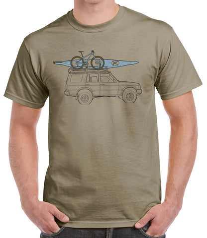 'DiscoTech' t-shirt featuring a Land Rover Discovery - Praire Dust