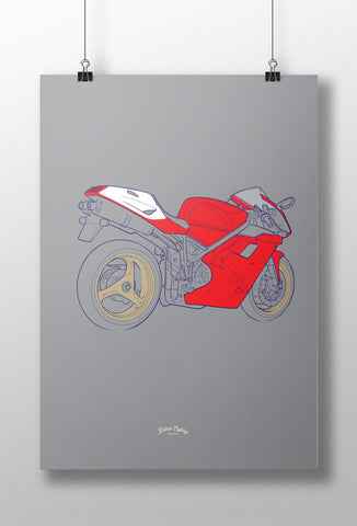 1990s Italian V Twin Superbike Motorcycle print
