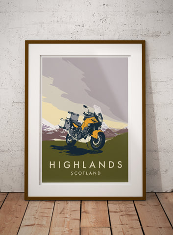 Adventure Motorcycle 'Highlands' print