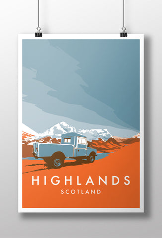 Land Rover Series 1 107 Truck Cab 'Highlands' print