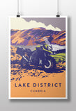 British Adventure Motorcycle 'Lake District' print