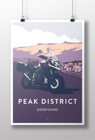 British Adventure Motorcycle 'Peak District' print