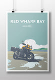 British Adventure Motorcycle 'Red Wharf Bay' print
