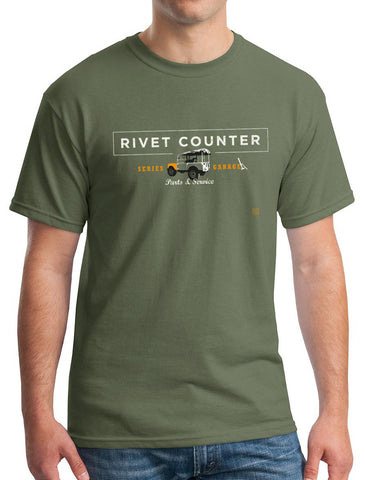 'Rivet Counter' Land Rover Series t-Shirt - Military Green