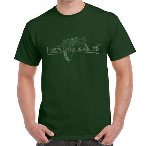 'Serious Series' Land Rover Series  Defender t-shirt - Forest Green