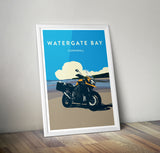 British Adventure Motorcycle 'Watergate Bay' print