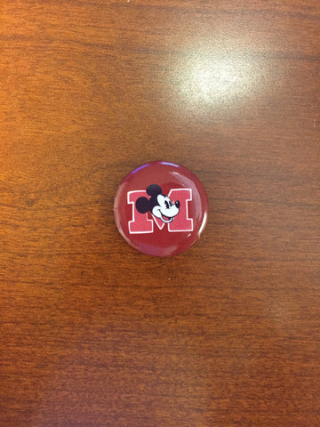 Varsity Mickey pin-back button