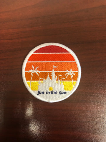 "Fun in the Sun 3"" round iron-on patch"