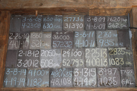 slate tiles hung on barn board with chalk writing
