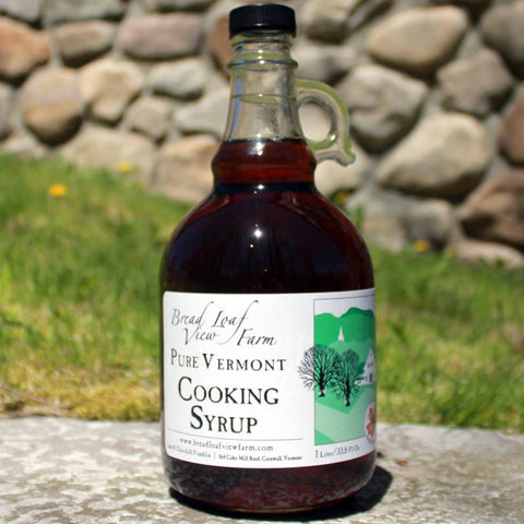 one liter bottle of Vermont Maple Syrup in glass jug
