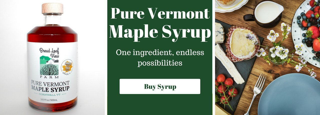 Glass Maple Syrup Bottle, Green text box with white writing, farm fresh breakfast plate