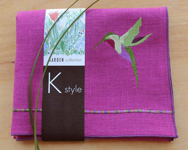 Hummingbird Linen Tea/Guest Towel in Orchid with Purple Trim - K Style Design - 1