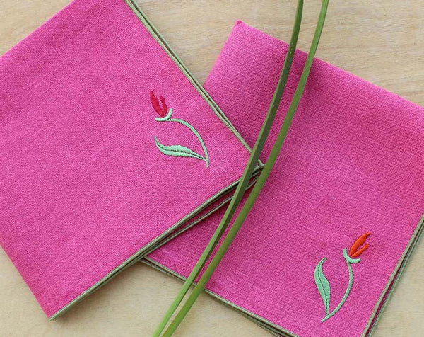 "Embroidered Linen Napkins in Coral Pink with Sage green Trim, Set of 4, 12"" - K Style Design - 1"