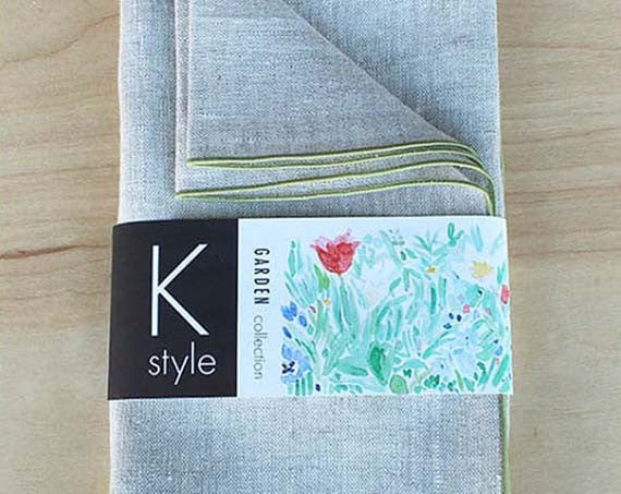"Natural Linen Dinner Napkins with Sage Green Trim, 20"" - K Style Design - 1"