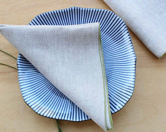 "Small Natural Linen Dinner Napkins with Sage Green Trim, Set of 4, 17"" - K Style Design - 1"