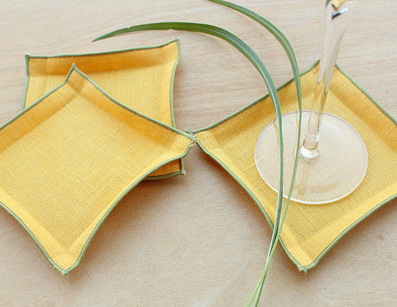 Mustard Yellow Linen Coasters with Sage Green Trim, Set of 4 - K Style Design - 1