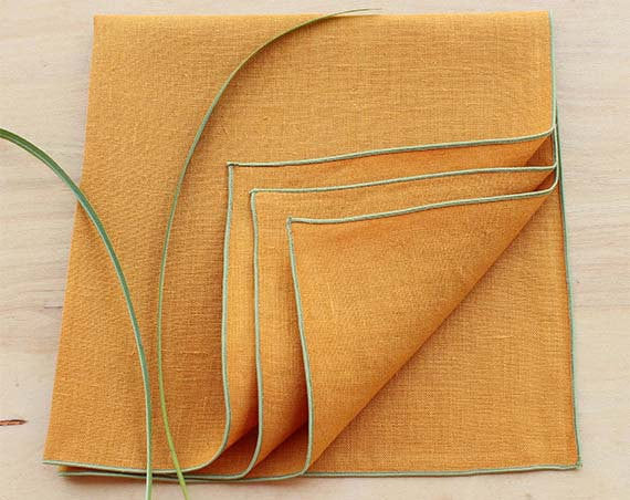 "Honey Gold Linen Dinner Napkins with Sage Green Trim, Set of 4, 20"" - K Style Design - 1"