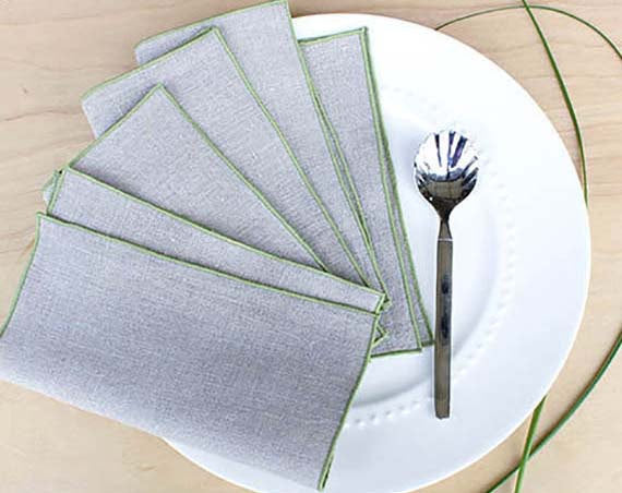 "Linen Cocktail Napkins in Stone Natural with Sage Green Trim,Set of 4, 7"" - K Style Design - 1"