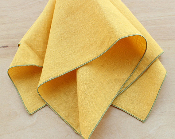"Linen Dinner Napkins in Mustard Yellow with Sage Green Trim, Set of 4, 20"" - K Style Design - 1"