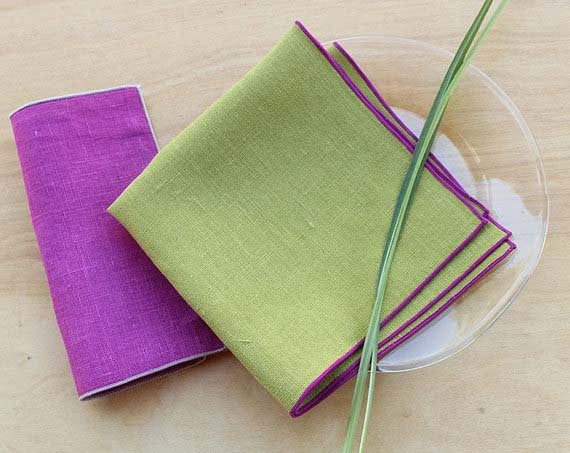 "Bistro/Luncheon Linen Napkins in Chartreuse with Trim In Radiant Orchid, 12"" - K Style Design - 1"
