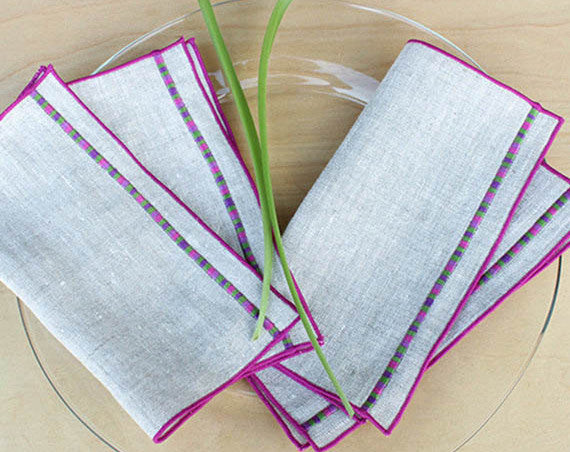 "Linen Cocktail Napkins in Natural Linen with Embroidered Detail in Purple, Set of 4, 7"" - K Style Design - 1"