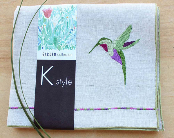 "Hummingbird Linen Tea/Guest Towel in Cream/Beige with Sage Green Trim,  15 X 26"" - K Style Design - 1"