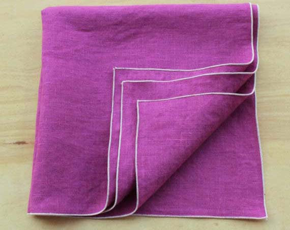 "Linen Dinner Napkins in Magenta/Orchid with Cream Trim, Set of 4, 20"" - K Style Design - 1"