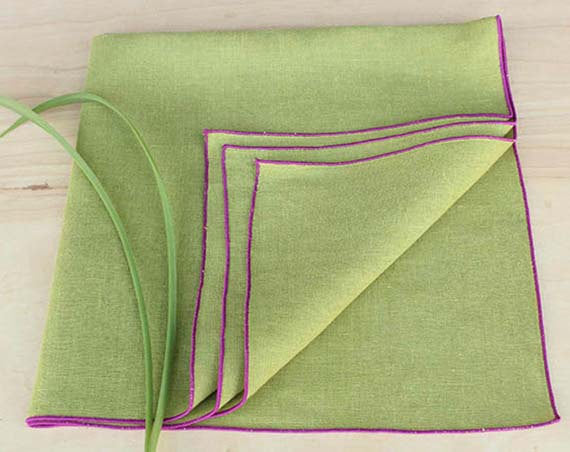 "Linen Dinner Napkins in Chartreuse Green with Orchid Trim, Set of 4, 20"" - K Style Design - 1"