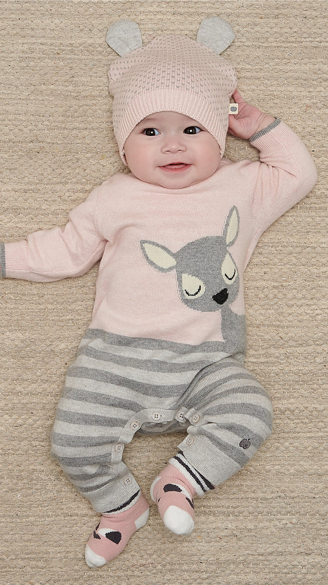 pink knitted cotton cashmere baby deer playsuit