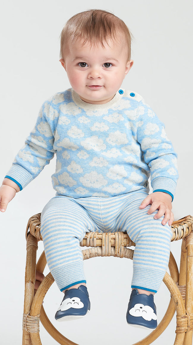 blue organic cotton knitted baby cloud sweater