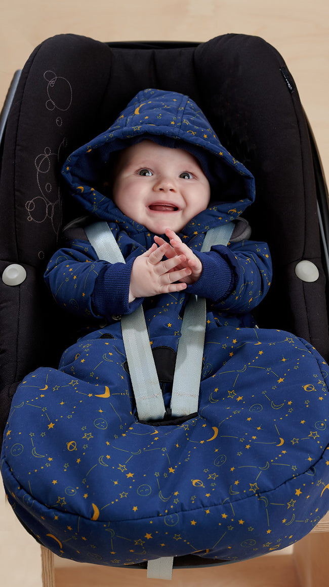 recycled baby pram suit in unisex cosmos print