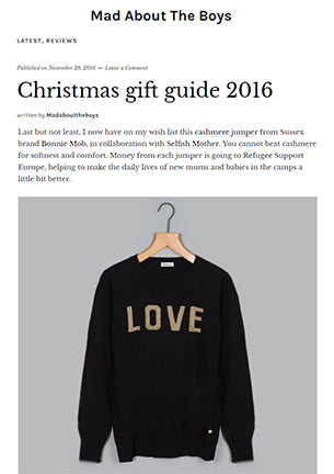 Christmas Gift Guide cashmere charity jumper from Selfish Mother