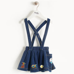 KIDS DENIM SKIRT WITH BRACES AND BADGES