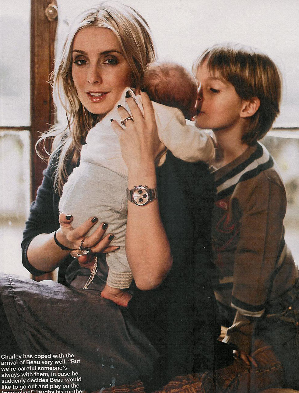 Louise Redknapp and new born baby wearing Bonnie baby, with son Charley