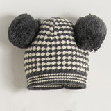 monochrome baby knitted pom pom hat