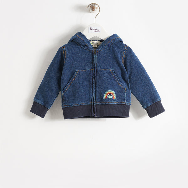 kids unisex denim hoodie for school uniform