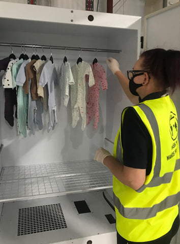 Ozone sanitation of the baby rental clothes