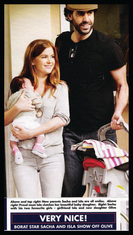 Isla Fisher and Sacha Baron Cohen with new baby and a Bonnie Baby blanket