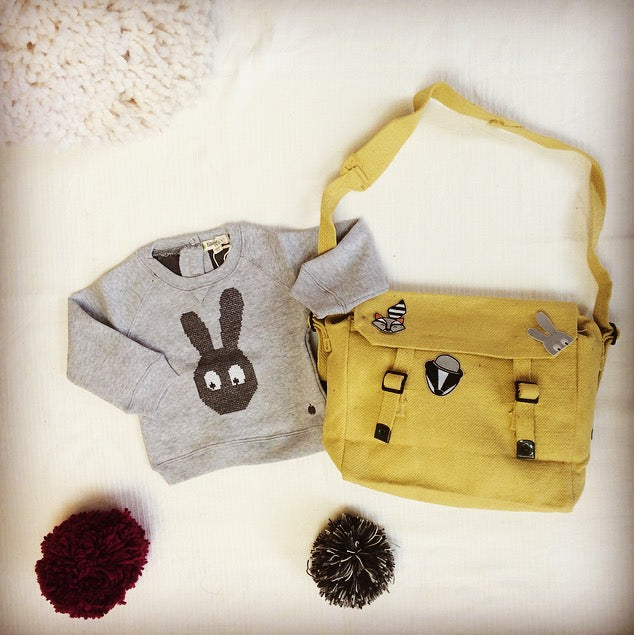 back to school grey bunny jumper and iron on badges for kids school bags