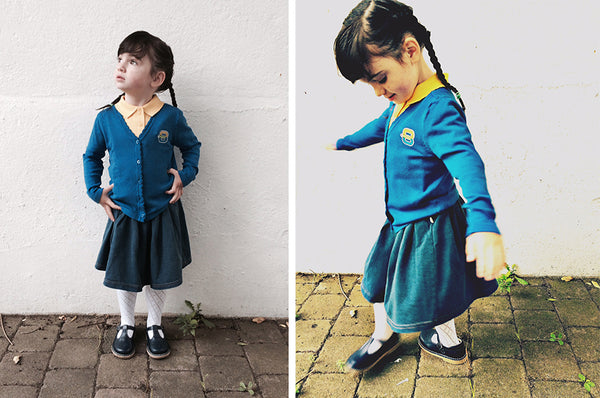the bonnie mob denim skirt for school uniform