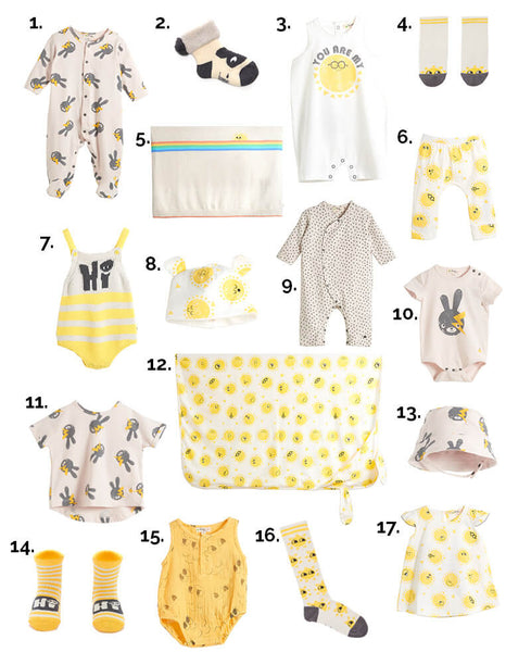yellow and bunny organic clothes for baby's first easter