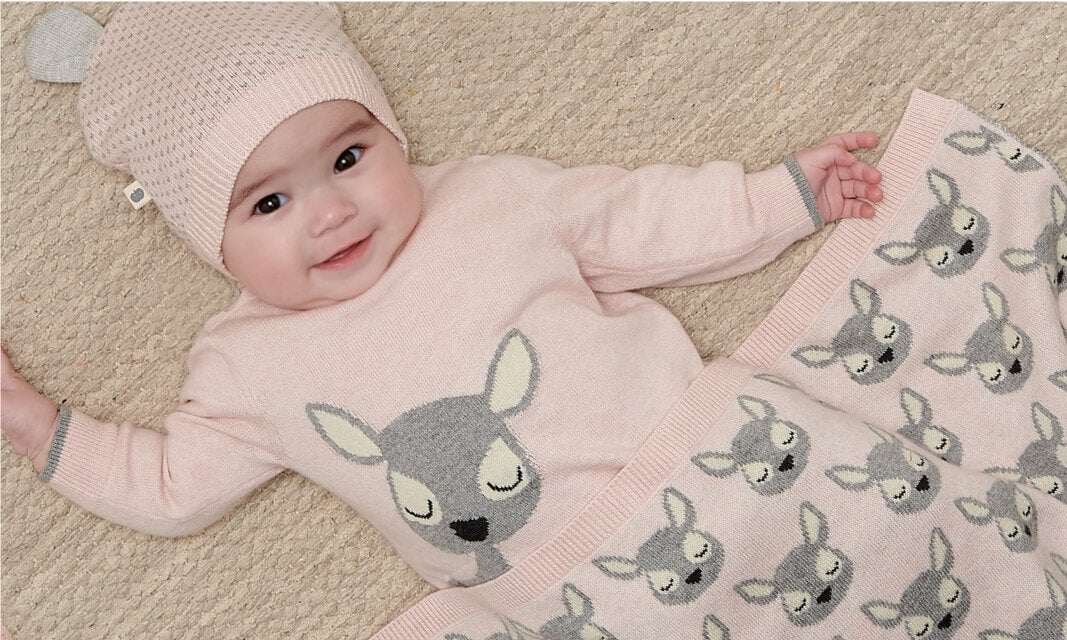 cashmere knits for baby girls with deer designs