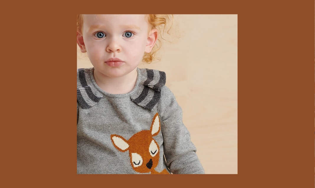 baby girl grey deer cashmere winter dress